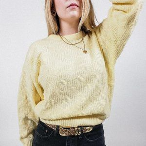 Vintage pale yellow crew neck knit sweater pattern